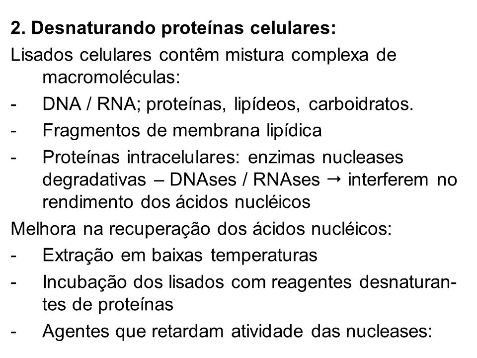 2. Desnaturando proteínas celulares: Lisados celulares contêm mistura complexa de macromoléculas: - DNA / RNA; proteínas, lipídeos, carboidratos. -Fra