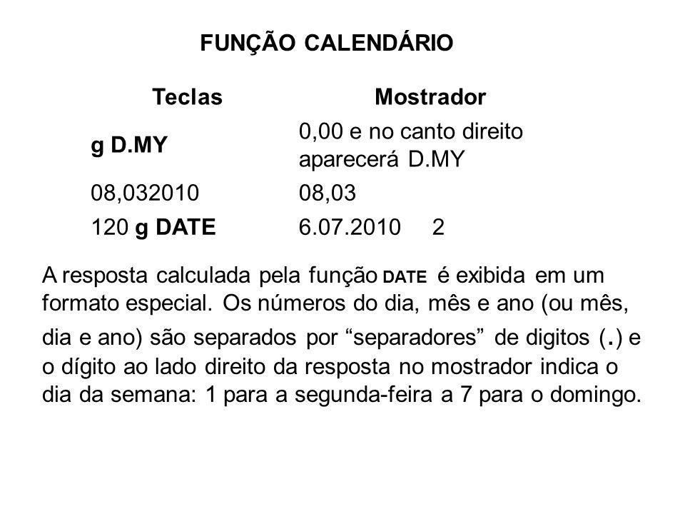FUNÇÃO CALENDÁRIO A resposta calculada pela função DATE é exibida em um formato especial. Os números do dia, mês e ano (ou mês, dia e ano) são separad
