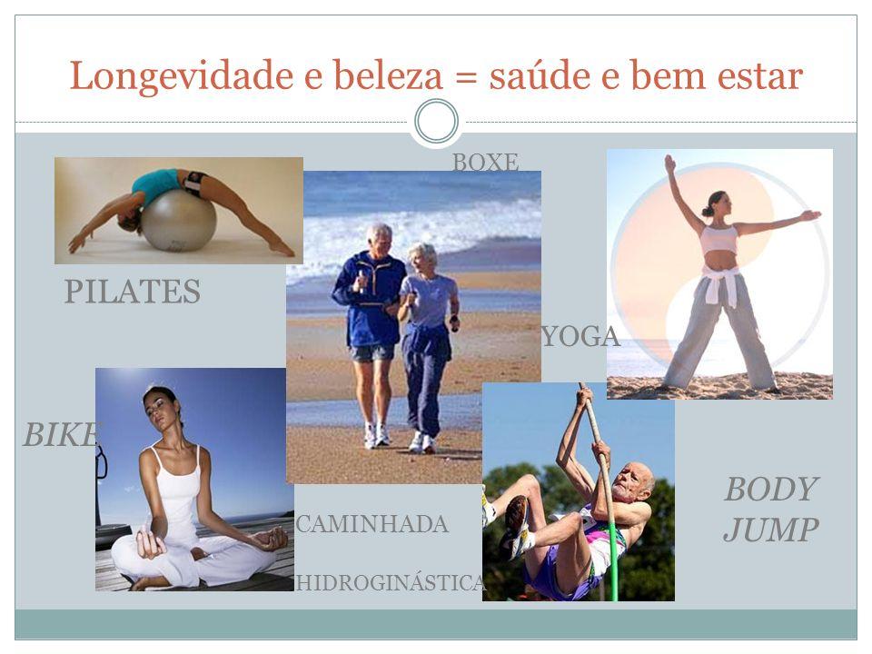 Longevidade e beleza = saúde e bem estar PILATES CAMINHADA YOGA BODY JUMP BOXE BIKE HIDROGINÁSTICA