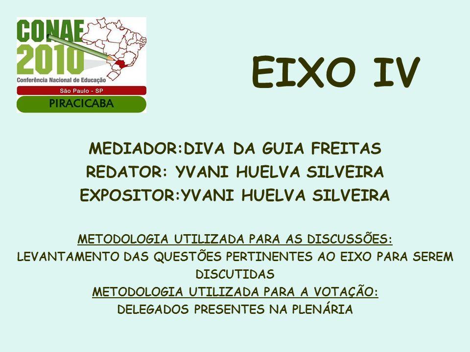 EIXO IV MEDIADOR:DIVA DA GUIA FREITAS REDATOR: YVANI HUELVA SILVEIRA EXPOSITOR:YVANI HUELVA SILVEIRA METODOLOGIA UTILIZADA PARA AS DISCUSSÕES: LEVANTA