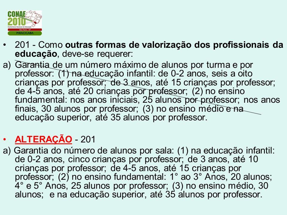 201 - Como outras formas de valorização dos profissionais da educação, deve-se requerer: a)Garantia de um número máximo de alunos por turma e por prof