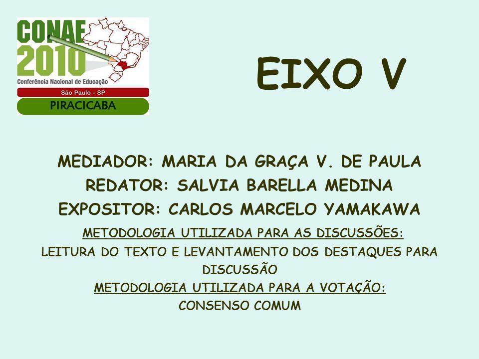 EIXO V MEDIADOR: MARIA DA GRAÇA V. DE PAULA REDATOR: SALVIA BARELLA MEDINA EXPOSITOR: CARLOS MARCELO YAMAKAWA METODOLOGIA UTILIZADA PARA AS DISCUSSÕES