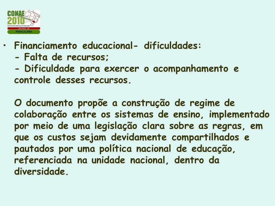 Financiamento educacional- dificuldades: - Falta de recursos; - Dificuldade para exercer o acompanhamento e controle desses recursos. O documento prop