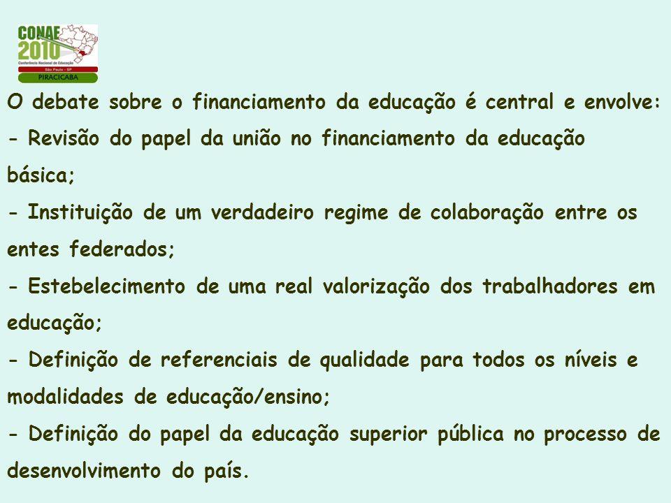 O debate sobre o financiamento da educação é central e envolve: - Revisão do papel da união no financiamento da educação básica; - Instituição de um v