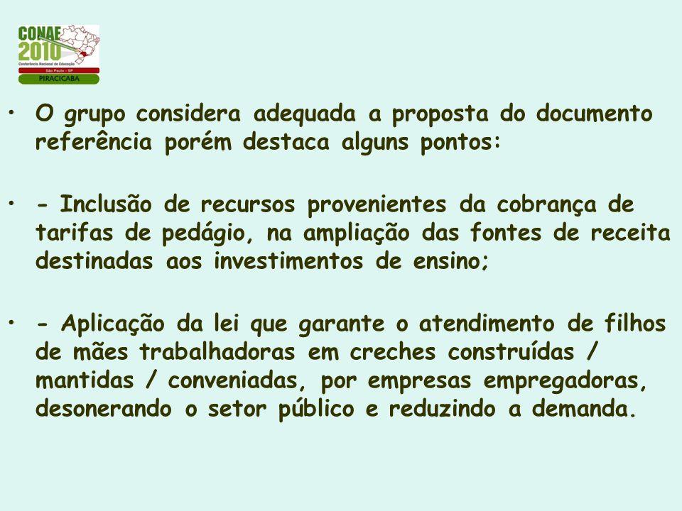 O grupo considera adequada a proposta do documento referência porém destaca alguns pontos: - Inclusão de recursos provenientes da cobrança de tarifas