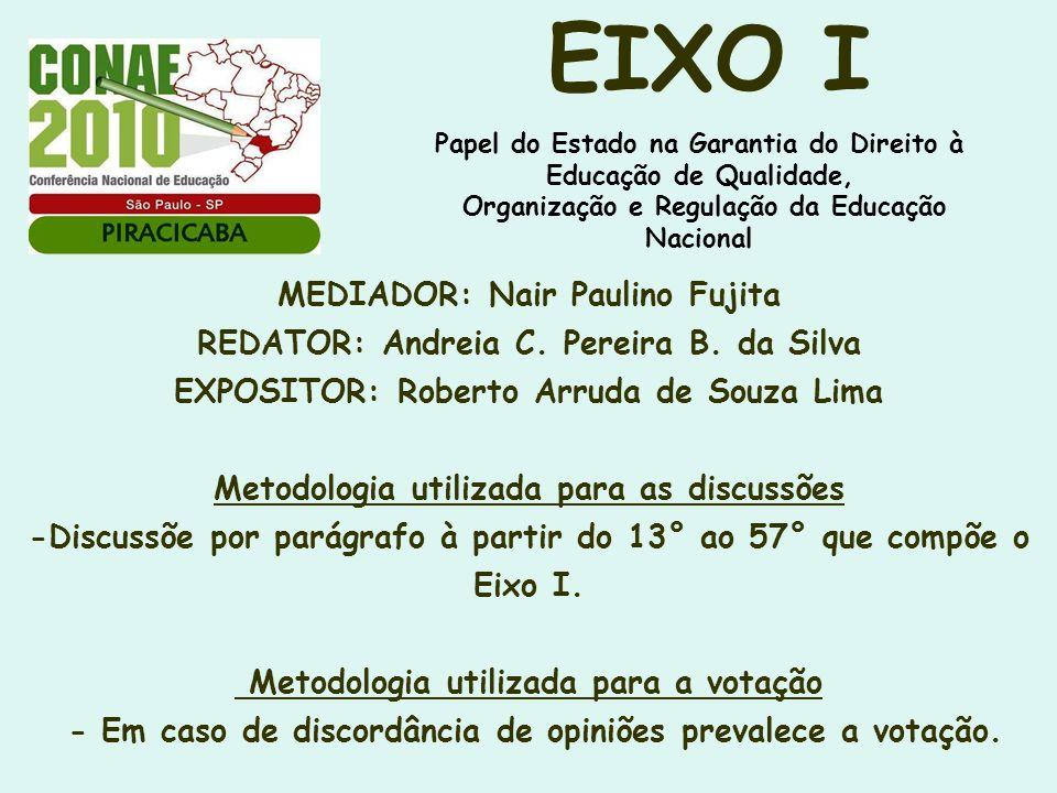 MEDIADOR: Nair Paulino Fujita REDATOR: Andreia C. Pereira B. da Silva EXPOSITOR: Roberto Arruda de Souza Lima Metodologia utilizada para as discussões
