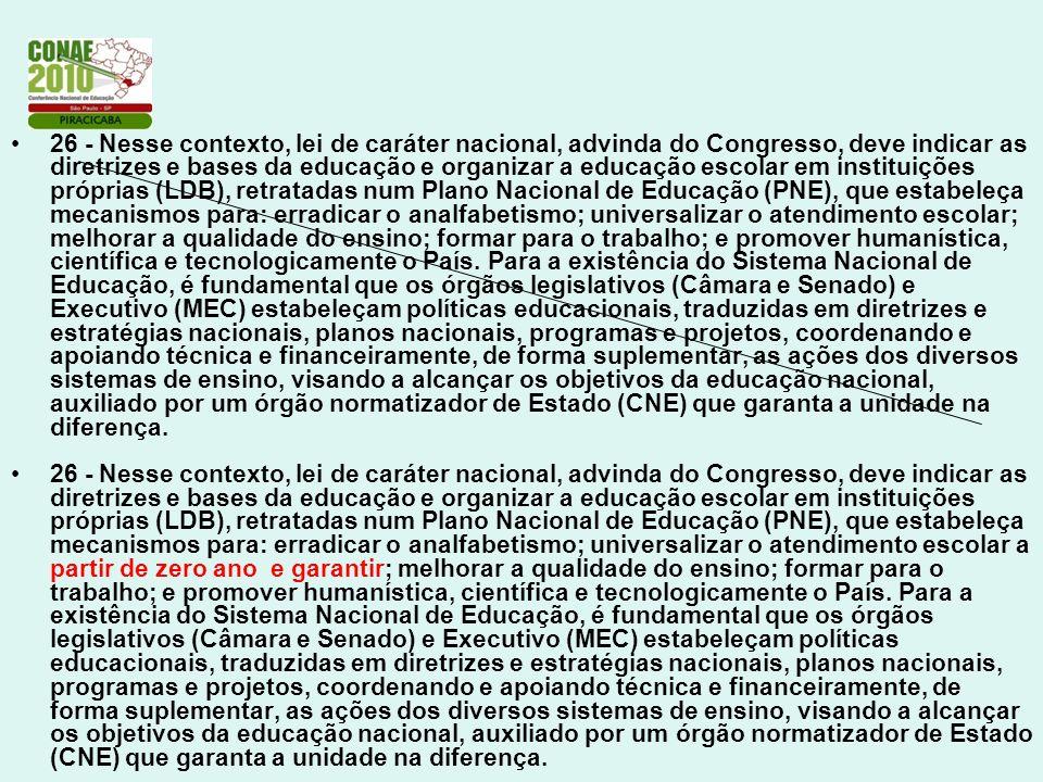 26 - Nesse contexto, lei de caráter nacional, advinda do Congresso, deve indicar as diretrizes e bases da educação e organizar a educação escolar em i