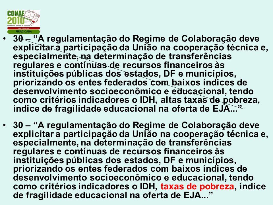 30 – A regulamentação do Regime de Colaboração deve explicitar a participação da União na cooperação técnica e, especialmente, na determinação de tran