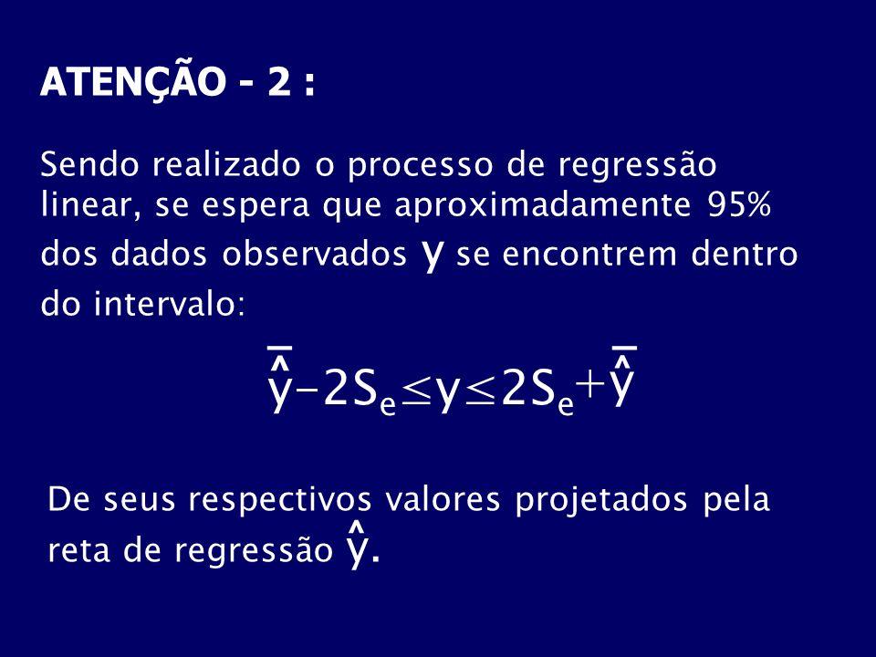 ATENÇÃO - 2 : Sendo realizado o processo de regressão linear, se espera que aproximadamente 95% dos dados observados y se encontrem dentro do interval