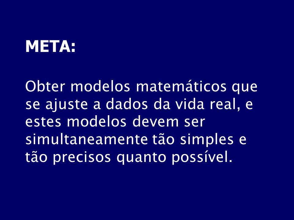 META: Obter modelos matemáticos que se ajuste a dados da vida real, e estes modelos devem ser simultaneamente tão simples e tão precisos quanto possív