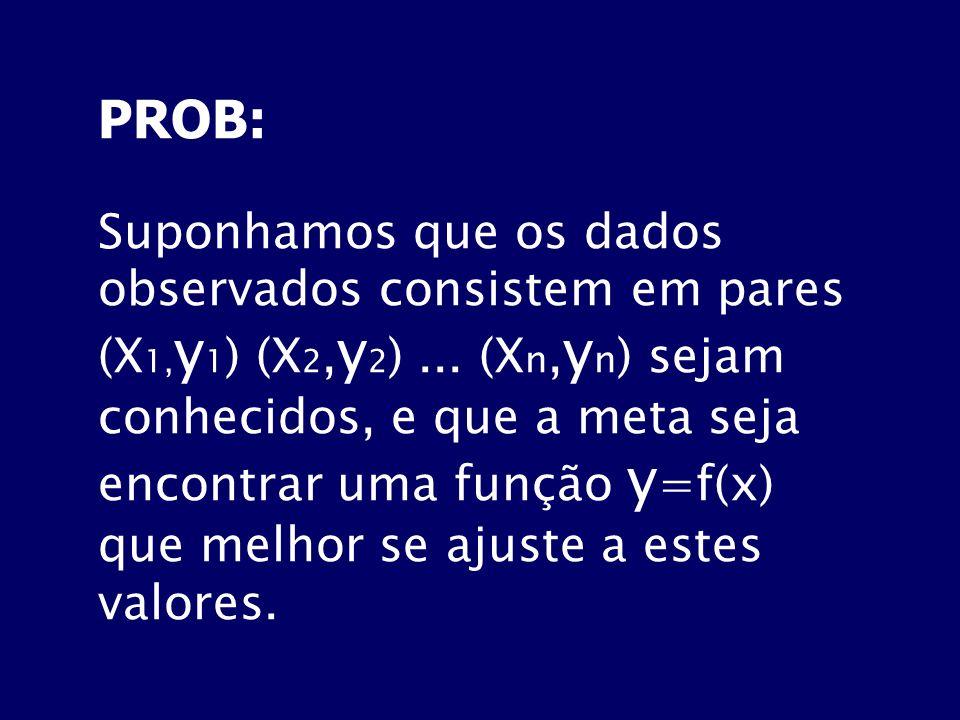 PROB: Suponhamos que os dados observados consistem em pares (X 1, y 1 ) (X 2, y 2 )... (X n, y n ) sejam conhecidos, e que a meta seja encontrar uma f