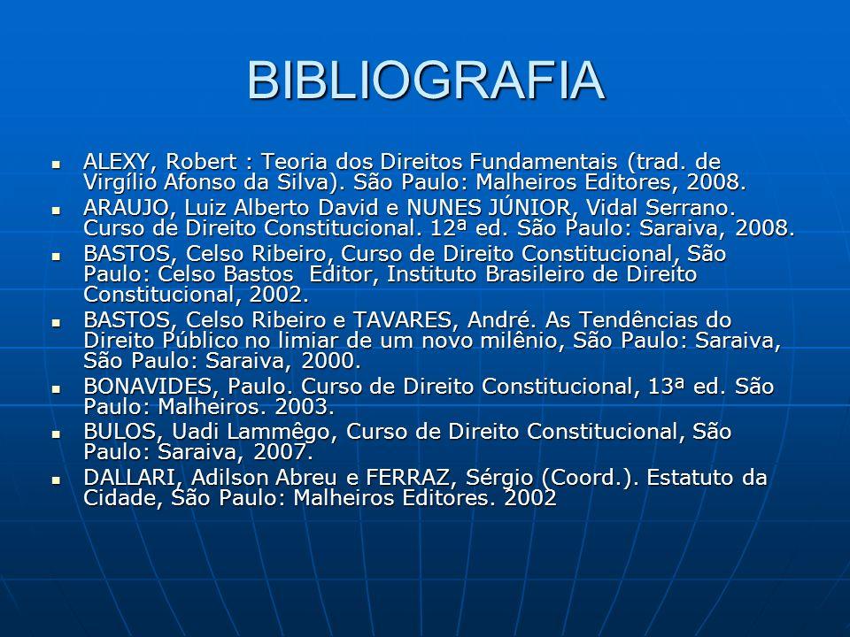 BIBLIOGRAFIA ALEXY, Robert : Teoria dos Direitos Fundamentais (trad. de Virgílio Afonso da Silva). São Paulo: Malheiros Editores, 2008. ALEXY, Robert