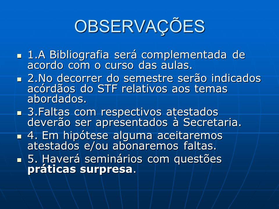 OBSERVAÇÕES 1.A Bibliografia será complementada de acordo com o curso das aulas. 1.A Bibliografia será complementada de acordo com o curso das aulas.