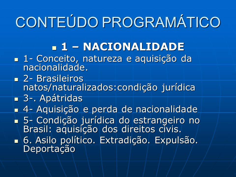 CONTEÚDO PROGRAMÁTICO 1 – NACIONALIDADE 1 – NACIONALIDADE 1- Conceito, natureza e aquisição da nacionalidade. 1- Conceito, natureza e aquisição da nac