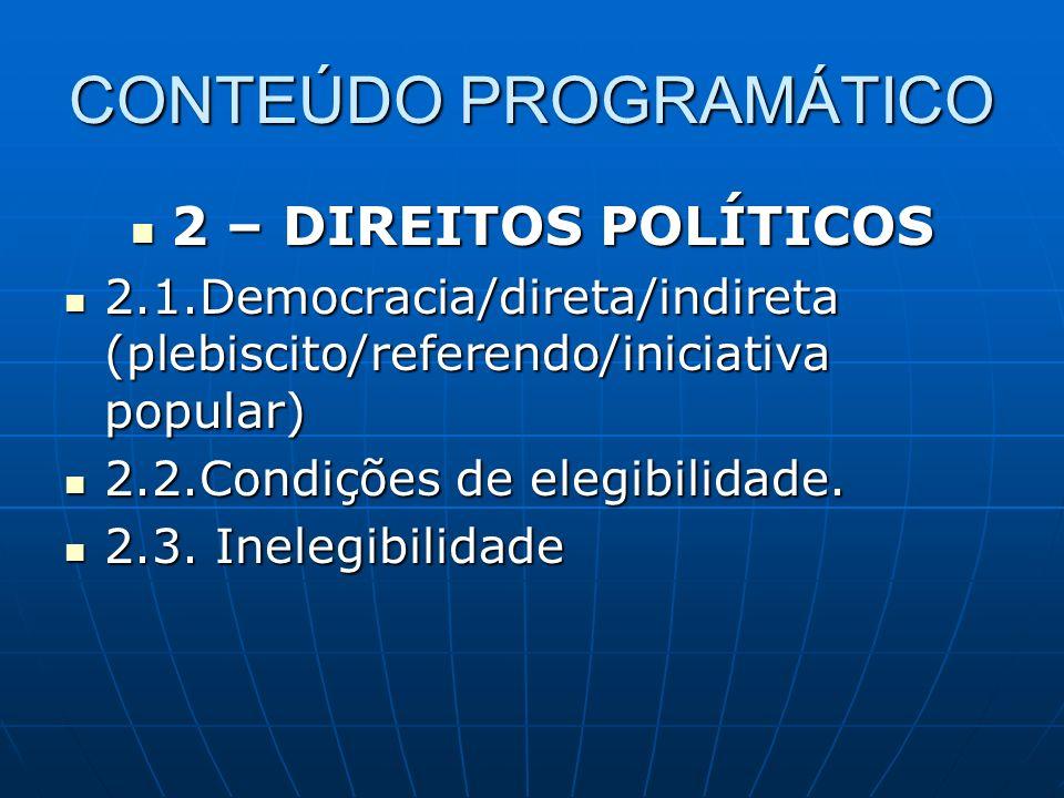 CONTEÚDO PROGRAMÁTICO 2 – DIREITOS POLÍTICOS 2 – DIREITOS POLÍTICOS 2.1.Democracia/direta/indireta (plebiscito/referendo/iniciativa popular) 2.1.Democ
