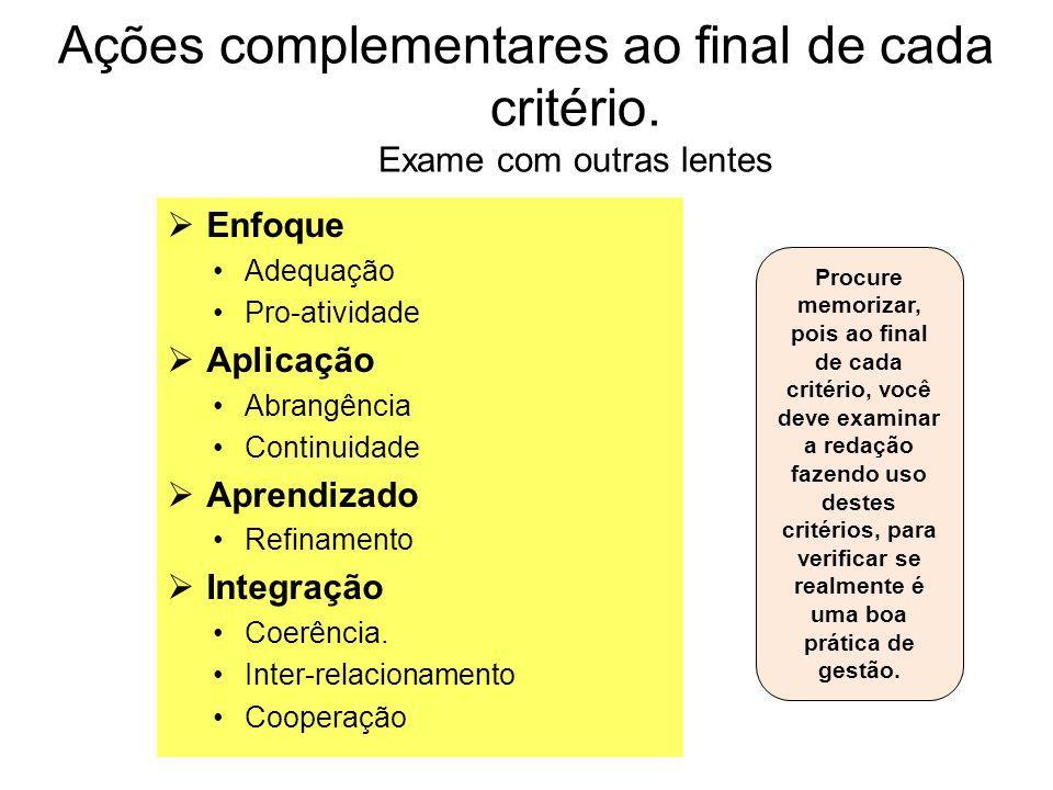 Ações complementares ao final de cada critério. Exame com outras lentes Enfoque Adequação Pro-atividade Aplicação Abrangência Continuidade Aprendizado