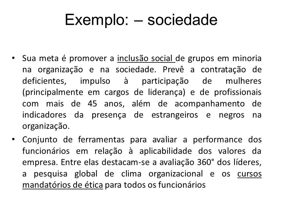 Exemplo: – sociedade Sua meta é promover a inclusão social de grupos em minoria na organização e na sociedade. Prevê a contratação de deficientes, imp