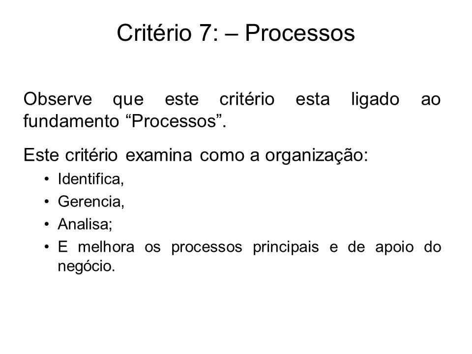 Critério 7: – Processos Observe que este critério esta ligado ao fundamento Processos. Este critério examina como a organização: Identifica, Gerencia,