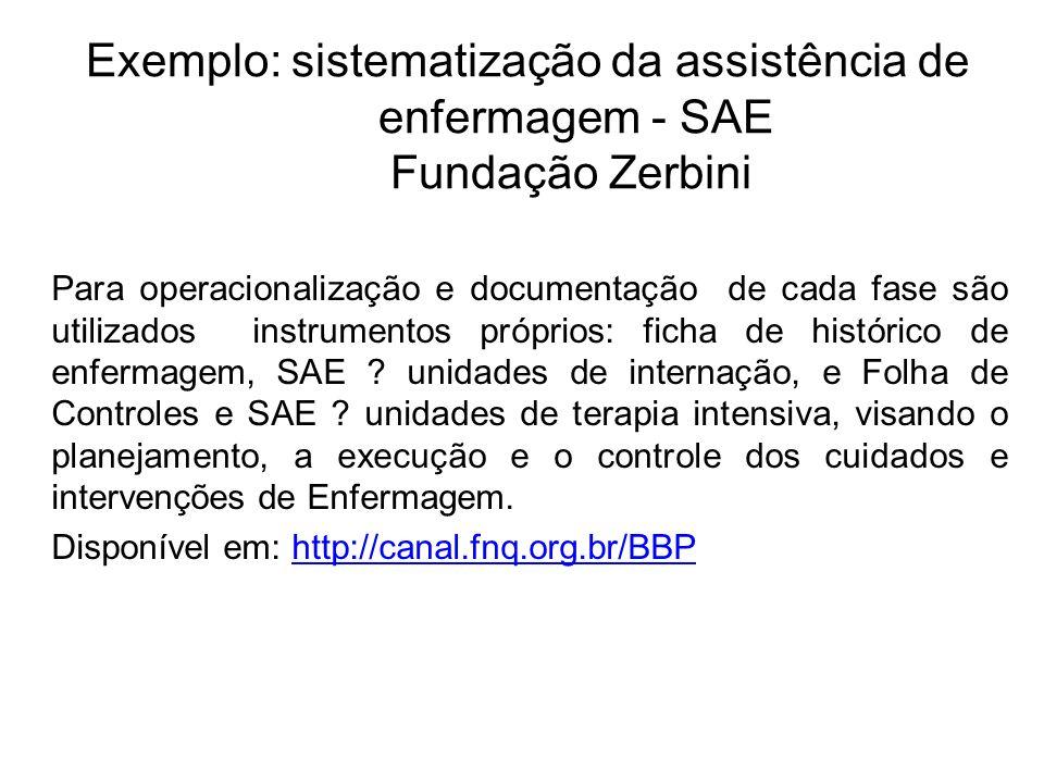 Exemplo: sistematização da assistência de enfermagem - SAE Fundação Zerbini Para operacionalização e documentação de cada fase são utilizados instrume