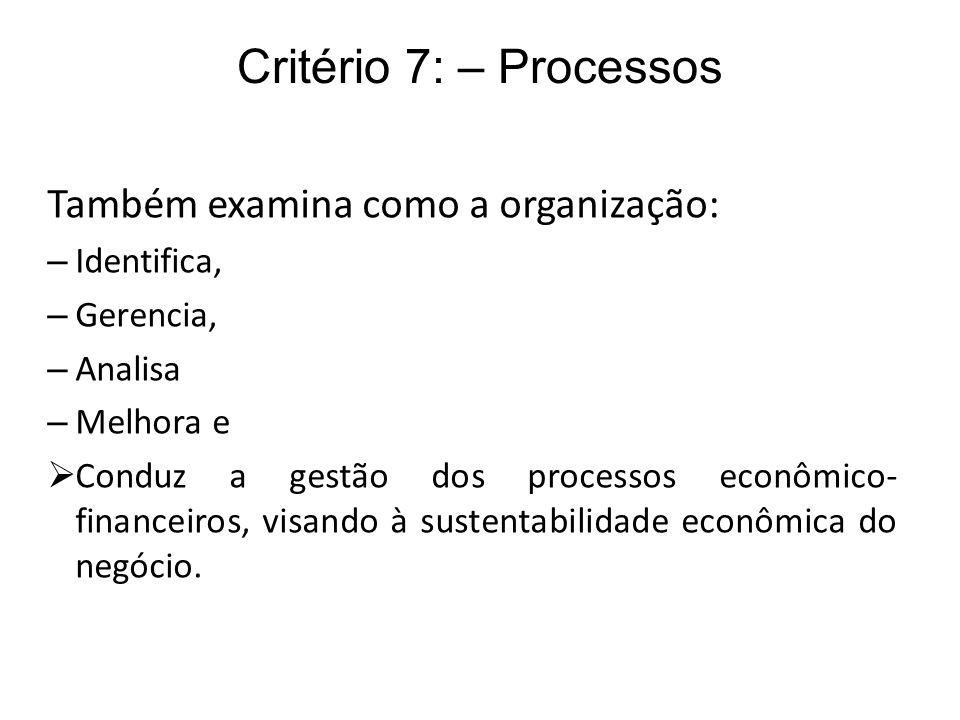 Critério 7: – Processos Também examina como a organização: – Identifica, – Gerencia, – Analisa – Melhora e Conduz a gestão dos processos econômico- fi