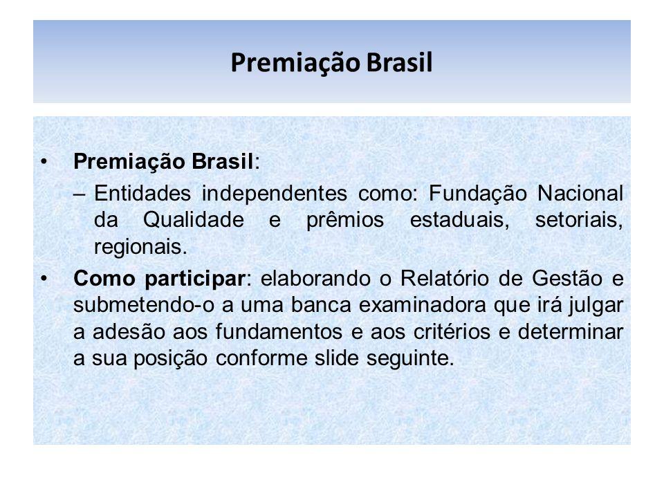 Premiação Brasil Premiação Brasil: –Entidades independentes como: Fundação Nacional da Qualidade e prêmios estaduais, setoriais, regionais. Como parti