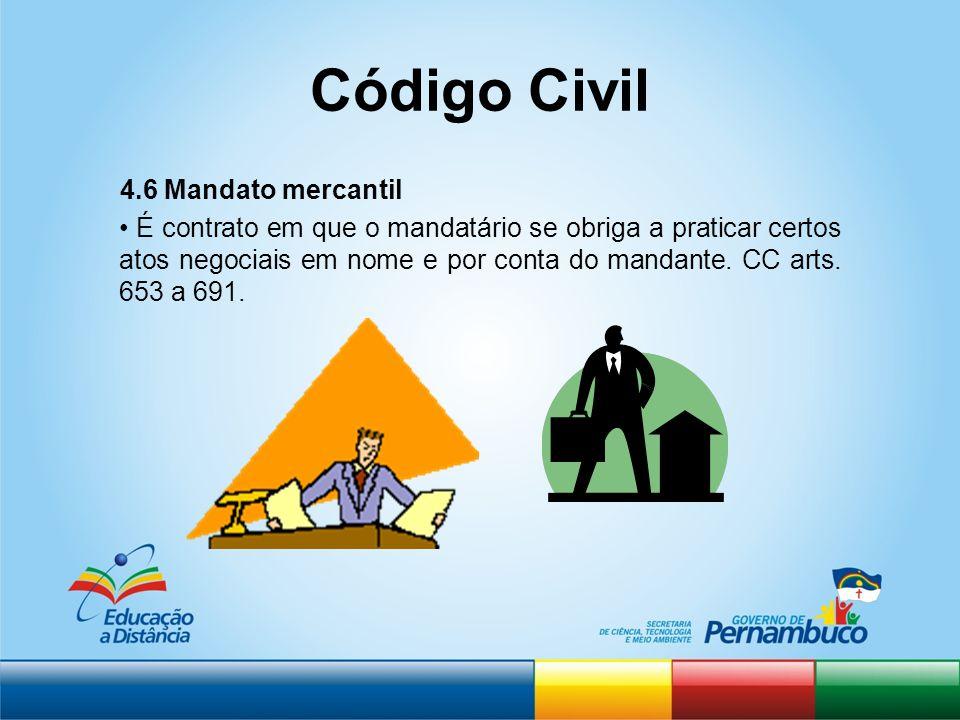 Código Civil 4.6 Mandato mercantil É contrato em que o mandatário se obriga a praticar certos atos negociais em nome e por conta do mandante. CC arts.