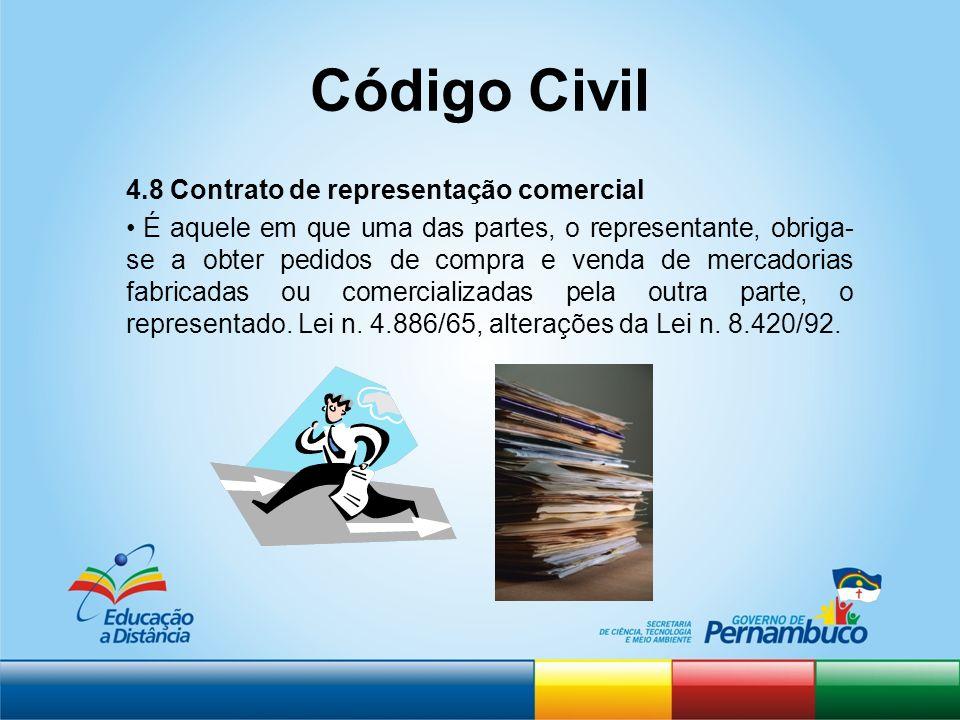 Código Civil 4.8 Contrato de representação comercial É aquele em que uma das partes, o representante, obriga- se a obter pedidos de compra e venda de