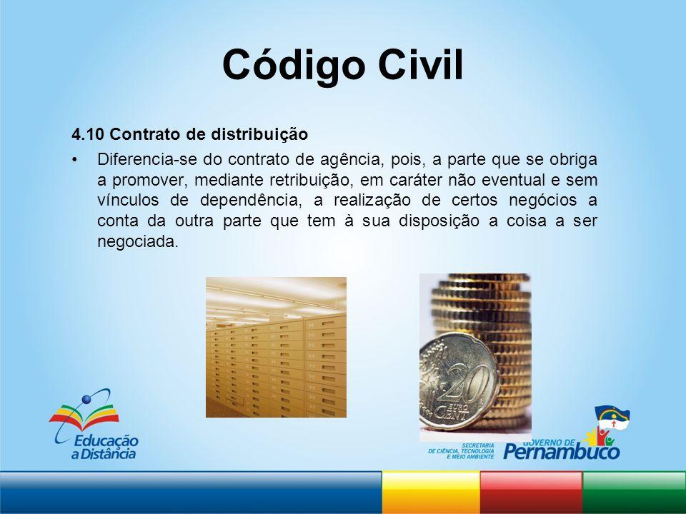 Código Civil 4.10 Contrato de distribuição Diferencia-se do contrato de agência, pois, a parte que se obriga a promover, mediante retribuição, em cará