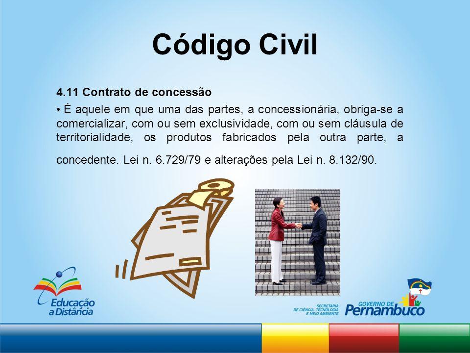 Código Civil 4.11 Contrato de concessão É aquele em que uma das partes, a concessionária, obriga-se a comercializar, com ou sem exclusividade, com ou