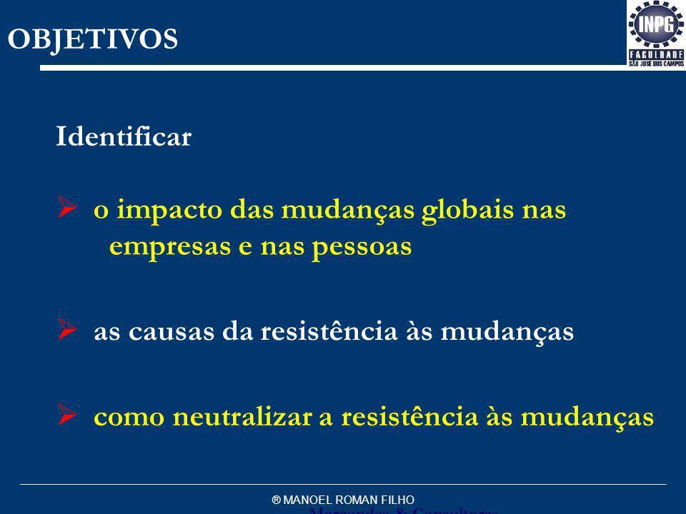 ® MANOEL ROMAN FILHO as causas da resistência às mudanças o impacto das mudanças globais nas empresas e nas pessoas como neutralizar a resistência às