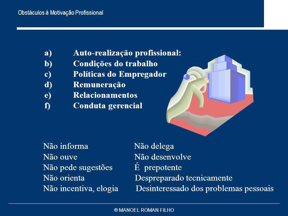 ® MANOEL ROMAN FILHO Obstáculos à Motivação Profissional a)Auto-realização profissional: b)Condições do trabalho c)Políticas do Empregador d)Remuneraç