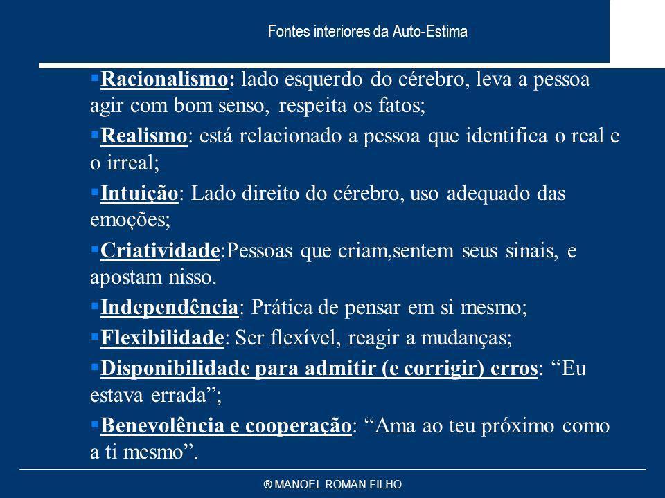 ® MANOEL ROMAN FILHO Fontes interiores da Auto-Estima Racionalismo: lado esquerdo do cérebro, leva a pessoa agir com bom senso, respeita os fatos; Rea