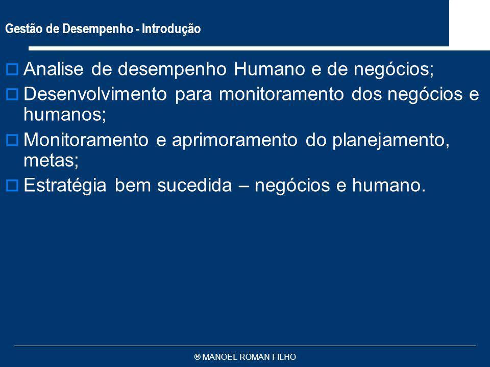 ® MANOEL ROMAN FILHO Gestão de Desempenho - Introdução Analise de desempenho Humano e de negócios; Desenvolvimento para monitoramento dos negócios e h
