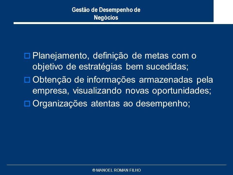 ® MANOEL ROMAN FILHO Gestão de Desempenho de Negócios Planejamento, definição de metas com o objetivo de estratégias bem sucedidas; Obtenção de inform
