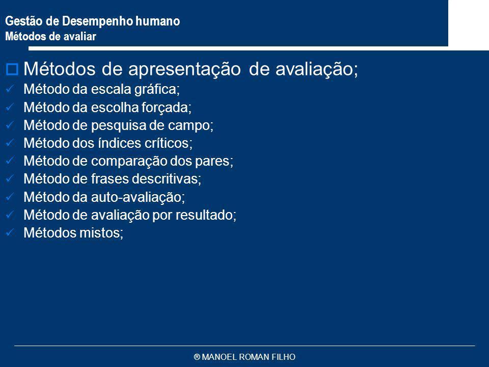 ® MANOEL ROMAN FILHO Gestão de Desempenho humano Métodos de avaliar Métodos de apresentação de avaliação; Método da escala gráfica; Método da escolha