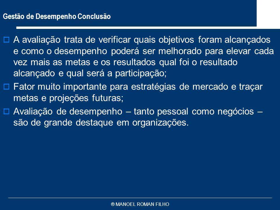 ® MANOEL ROMAN FILHO Gestão de Desempenho Conclusão A avaliação trata de verificar quais objetivos foram alcançados e como o desempenho poderá ser mel