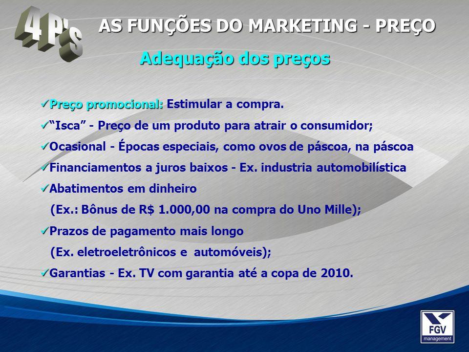Preço promocional: Preço promocional: Estimular a compra. Isca - Preço de um produto para atrair o consumidor; Ocasional - Épocas especiais, como ovos