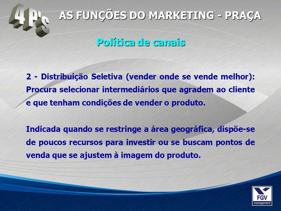 2 - Distribuição Seletiva (vender onde se vende melhor): Procura selecionar intermediários que agradem ao cliente e que tenham condições de vender o p