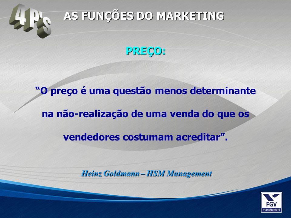 O preço é uma questão menos determinante na não-realização de uma venda do que os vendedores costumam acreditar. Heinz Goldmann – HSM Management AS FU