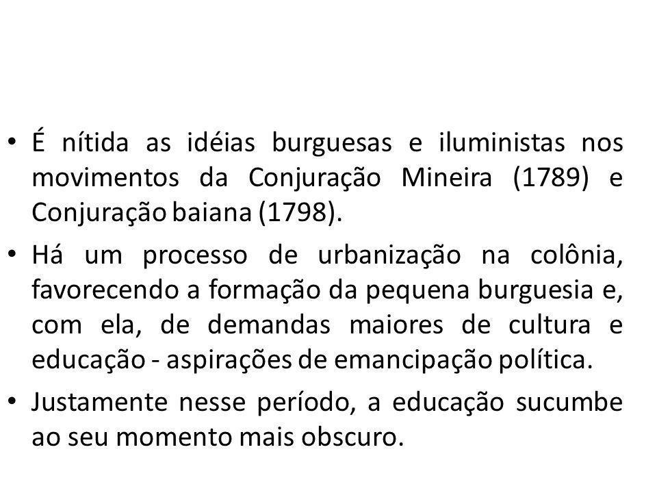 É nítida as idéias burguesas e iluministas nos movimentos da Conjuração Mineira (1789) e Conjuração baiana (1798). Há um processo de urbanização na co