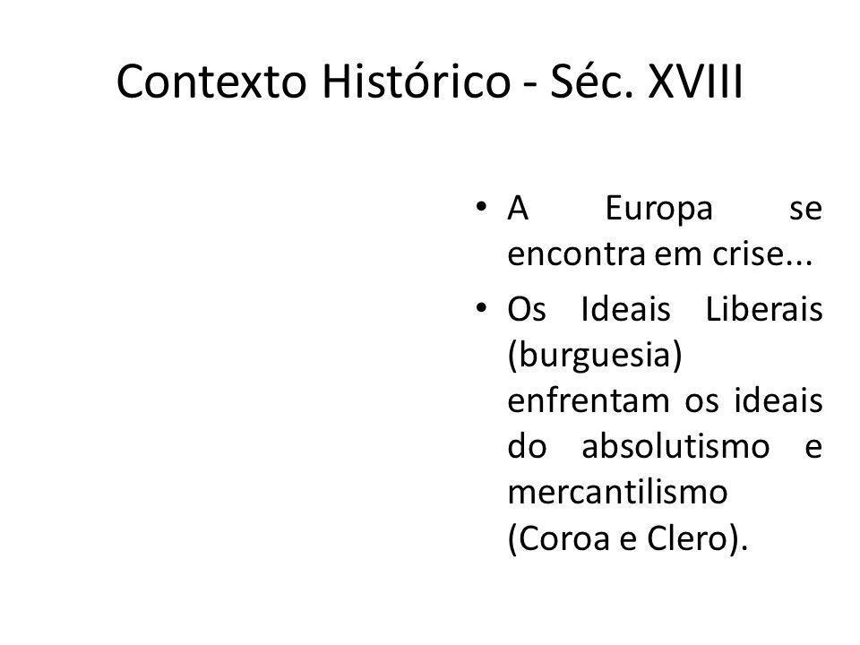 Contexto Histórico - Séc. XVIII A Europa se encontra em crise... Os Ideais Liberais (burguesia) enfrentam os ideais do absolutismo e mercantilismo (Co