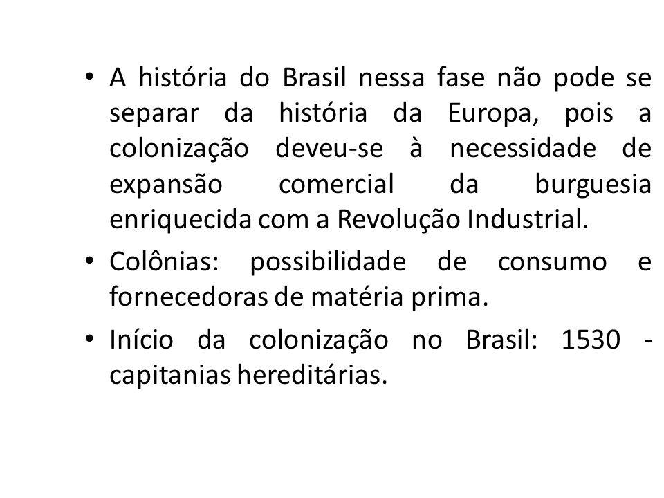 A história do Brasil nessa fase não pode se separar da história da Europa, pois a colonização deveu-se à necessidade de expansão comercial da burguesi