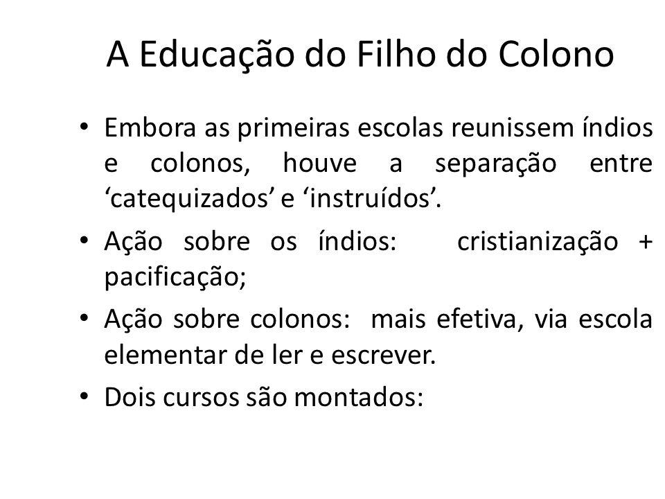 A Educação do Filho do Colono Embora as primeiras escolas reunissem índios e colonos, houve a separação entre catequizados e instruídos. Ação sobre os