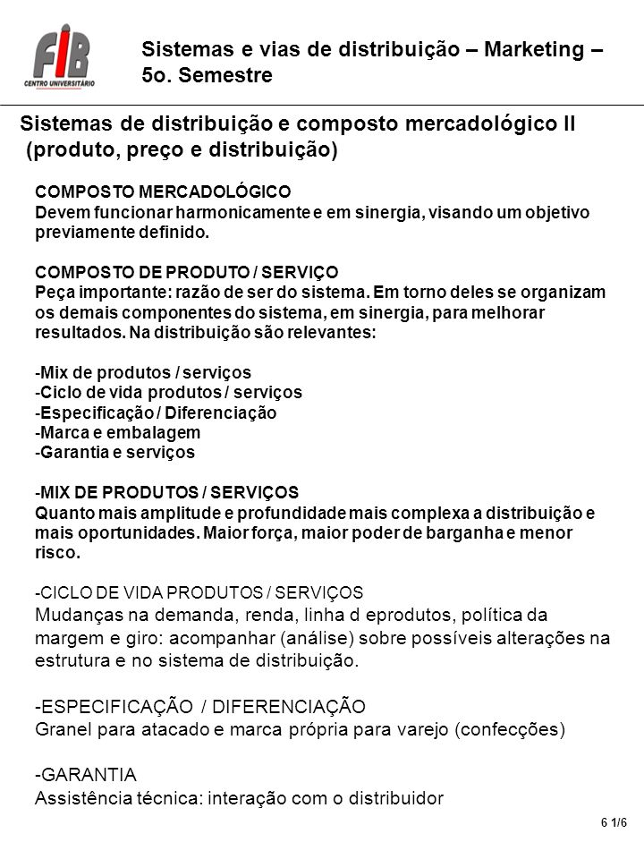 Sistemas e vias de distribuição – Marketing – 5o.