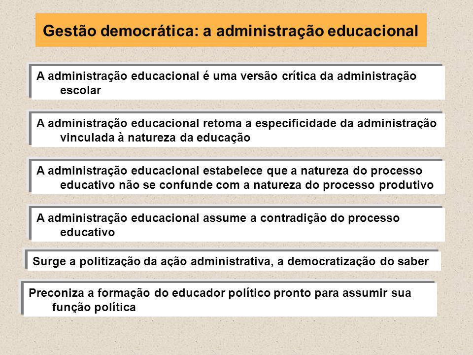 A administração educacional é uma versão crítica da administração escolar A administração educacional retoma a especificidade da administração vincula