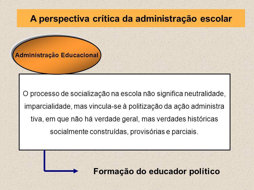 O processo de socialização na escola não significa neutralidade, imparcialidade, mas vincula-se à politização da ação administra tiva, em que não há v