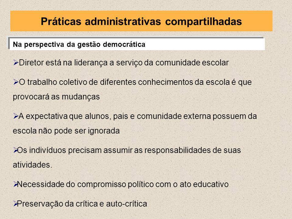 Na perspectiva da gestão democrática Diretor está na liderança a serviço da comunidade escolar O trabalho coletivo de diferentes conhecimentos da esco