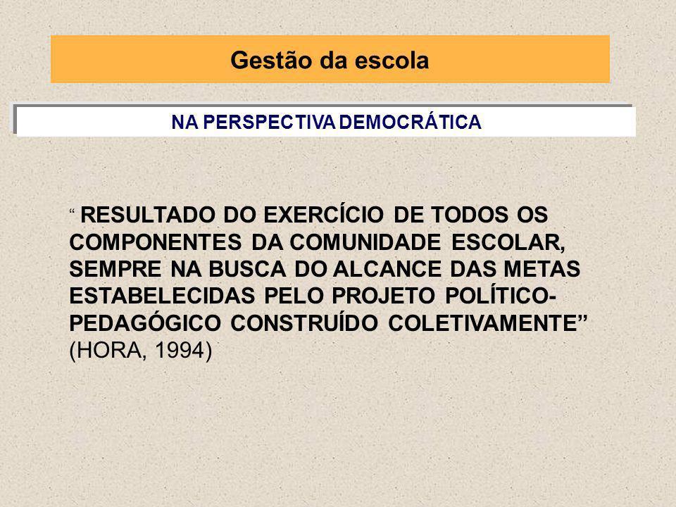 NA PERSPECTIVA DEMOCRÁTICA RESULTADO DO EXERCÍCIO DE TODOS OS COMPONENTES DA COMUNIDADE ESCOLAR, SEMPRE NA BUSCA DO ALCANCE DAS METAS ESTABELECIDAS PE