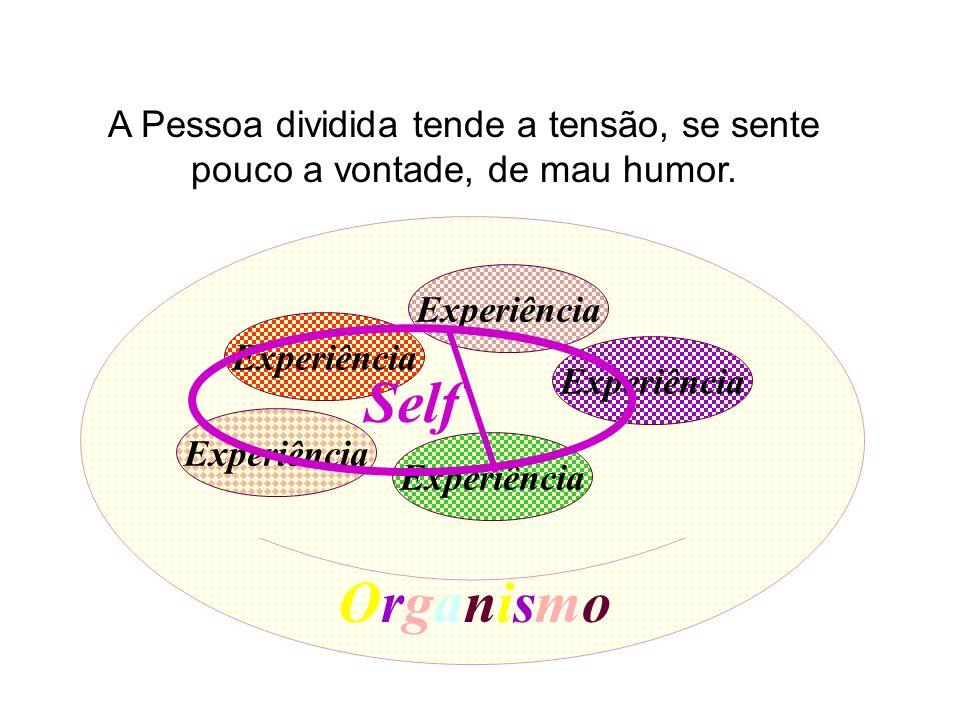 Experiência Self Organismo A Pessoa dividida tende a tensão, se sente pouco a vontade, de mau humor.
