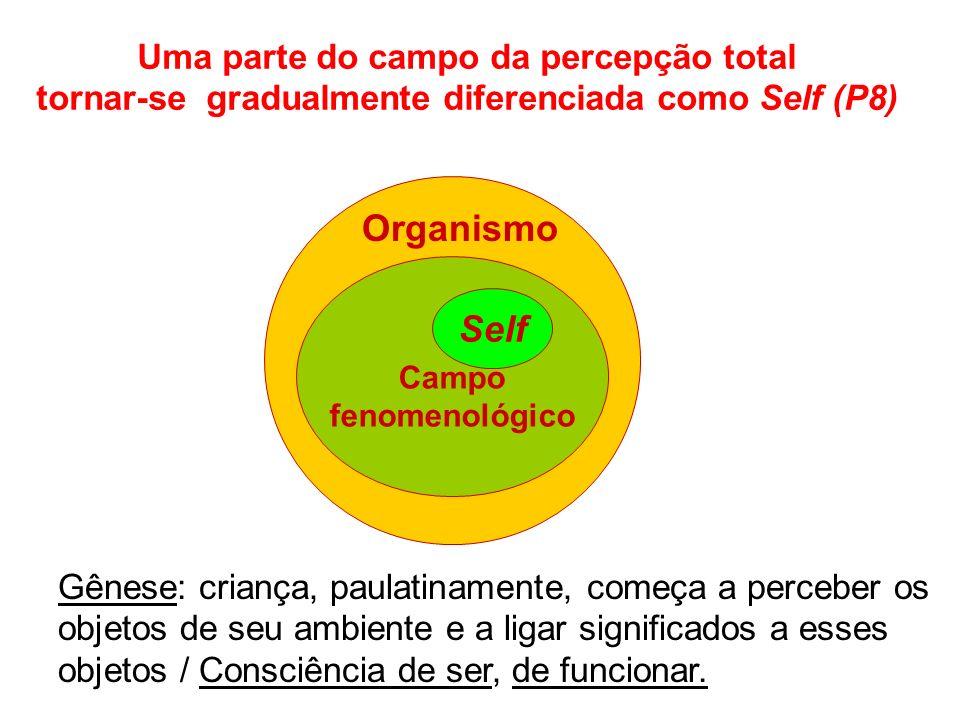 Uma parte do campo da percepção total tornar-se gradualmente diferenciada como Self (P8) Organismo Campo fenomenológico Self Gênese: criança, paulatinamente, começa a perceber os objetos de seu ambiente e a ligar significados a esses objetos / Consciência de ser, de funcionar.